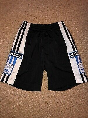 "ADIDAS shorts 90s poppers buttons vintage BLACK Kids Rare 22"" Retro Rare"