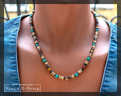 Colorful necklace, Mookaite jasper, Turquoise and Coconut wood beads necklace