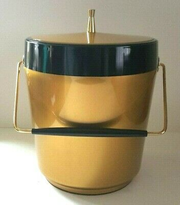 Vtg MCM West Bend Thermo Serv Insulated Barware Gold Black Ice Bucket NICE!