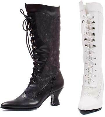 High Lace Overlay Full Lace Up Mid Heel Zipper Boots Shoes 253-REBECCA-WHT Knee