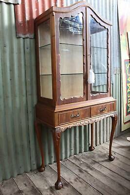 A French Style Mahogany Crystal Display Cabinet on Ball & Claw Legs