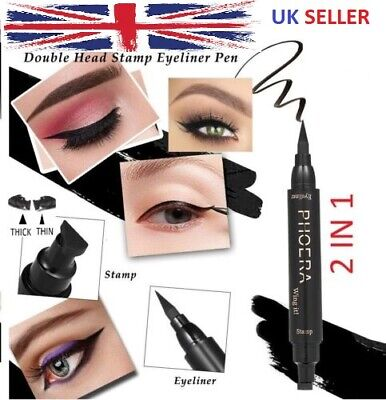 Phoera Winged Cat Eye Liner Stamp 2 In 1 Thin Thick Black Vamp Pen Wing Eyeliner