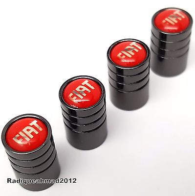 New FIAT Black Wheel Tyre Valve Dust Caps in RED for 500 Abarth Punto Panda