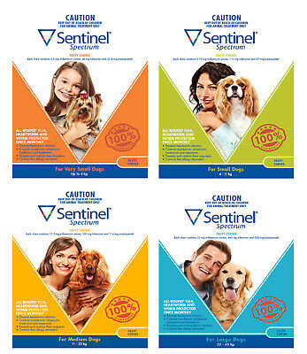 Sentinel Spectrum for Dogs 6 Pack Chew - Brown Green Yellow Blue All Sizes
