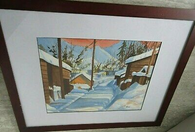 Vintage Watercolor Painting Framed Winter Cottages Mountains Heavy Snow Signed