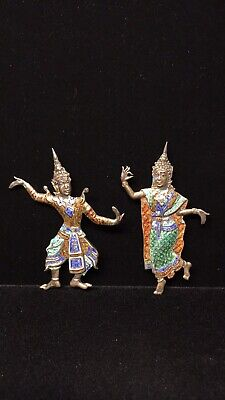 Antique Siam/Thailand Sterling Silver and Enamel Dancing Women Pins