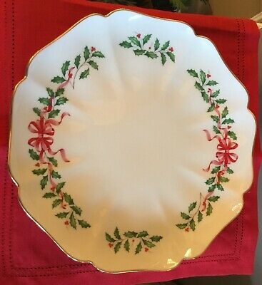 """Lenox Holiday Christmas Holly Berries Red Ribbon Bow 12"""" Platter 24K Gold Trim"""