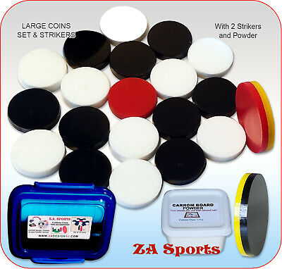 Carrom Boarcoins (Large & Medium Size Boards) With 2 Strikers 21 Coins & Powder