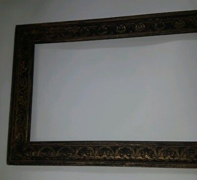 Large Very Nice Art Antique Picture Carved Frame Solid Wood Victorian
