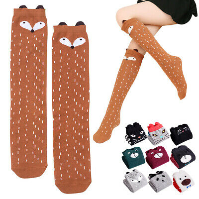 Kids Girls Knee High Socks Pack of 6/8/10pcs Multicoloured Cute Cartoon Animal