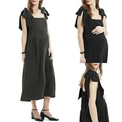 Women Maternity Pregnant Summer Sleeveless Loose Smock Oversize Solid Long Dress