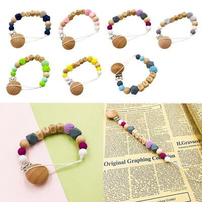 Handmade Wooden Dummy Clip Chain Silicone Pacifier Baby Gift D Top