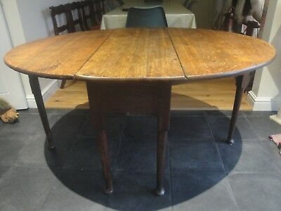Antique Georgian Oak Drop Leaf Dining Table