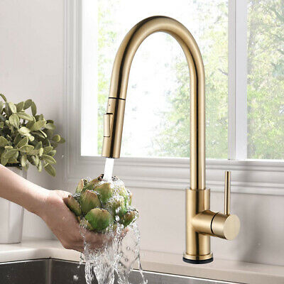Brushed Gold Kitchen Faucet Swivel Pull Out Sprayer Single Handle Mixer Tap1