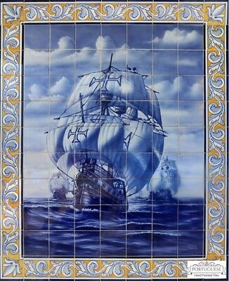 Portuguese Hand Painted Glazed Tile Mural AGE OF DISCOVERY SHIP CARAVEL