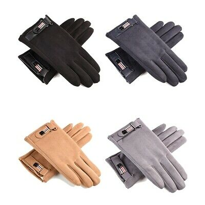 Leather Male Suede Gloves With Buckle Khaki Velvet Winter Warm Adjustable Gloves