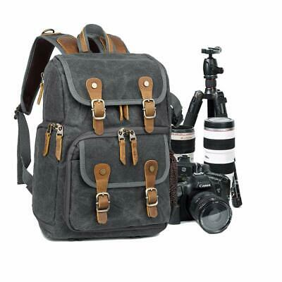 Camera Backpack DSLR Lens Canvas Bag Large Padded Waterproof Travel Camera Bag