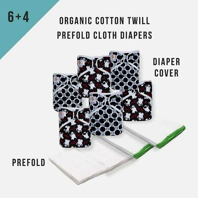KaWaii Baby 4 Dozen Organic Cotton Prefolds & 6 One Size Diaper Covers Set #1