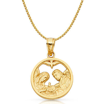14K Yellow Gold Baptism Charm Pendant with 1.2mm Flat Open Wheat Chain Necklace