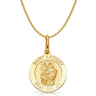 14K Yellow Gold St. Anthony Charm Pendant & 1.2mm Flat Open Wheat Chain Necklace