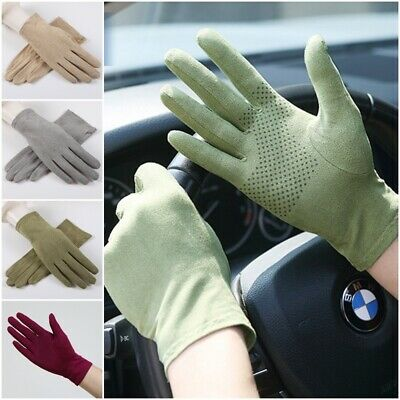 Thin Breathable Short Sunscreen Driving Gloves Full Fingers Faux Suede Gloves