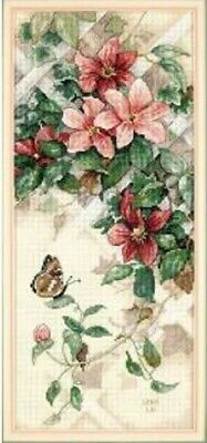 "DIMENSIONS""BUTTERFLY AND CLEMATIS"" CROSS STITCH KIT Kreuzstich-Stickpackung"