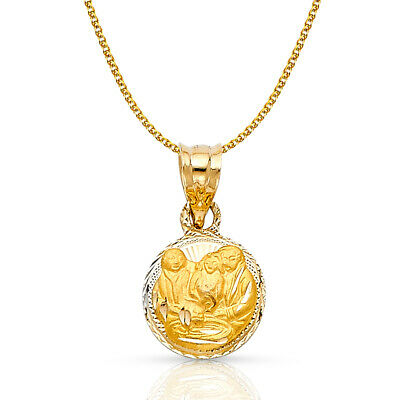 14K Yellow Gold Stamp Baptism Charm Pendant 1.2mm Flat Open Wheat Chain Necklace