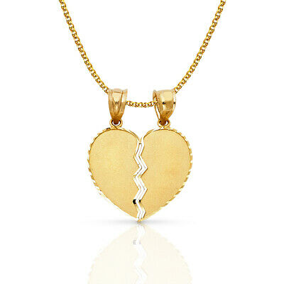 14K Yellow Gold Broken Duo Heart Pendant & 1.5mm Flat Open Wheat Chain Necklace