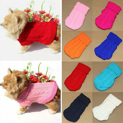 Small Dog Knit Jacket Sweater Pet Cat Puppy Coat Clothes Warm Costume S-XL Size