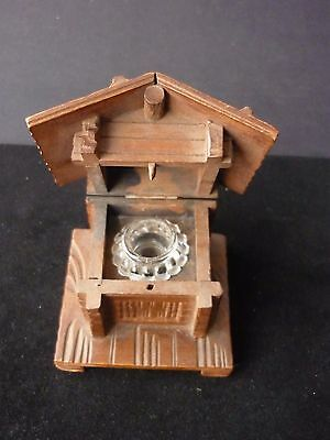 Vintage Wooden Chalet Black Forest Inkwell Marked Aaresclught