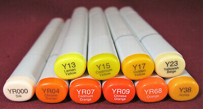 "(10x) Copic Sketch Dual-Tip Markers - Yellows & Oranges, ""Y"" & ""YR"" Series, Y2"