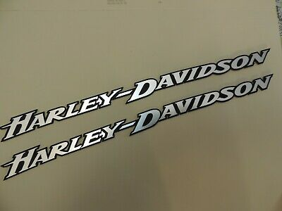 "2 Harley Davidson Black & Silver Emblems 11"" X 1"" Set W Self Adhesive Backing"