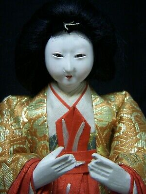 "Antique Japanese Girls' Day Doll - Gofun - Glass Eyes - 8"" tall"