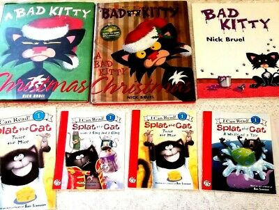 Lot of 11 Kids Pete the Cat Splat the Cat Bad Kitty Christmas Picture Books