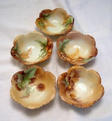 Antique GOA FRANCE HAND PAINTED PORCELAIN NUT/SALT DISHES Set of Five Limoges