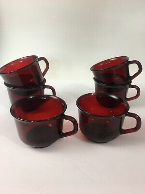 ARCOROC France Classique Ruby Rim Red Glass Cups Coffee Lot 6 Vintage KD