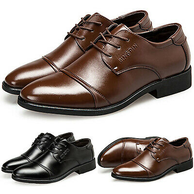 Men Leather Brogues Smart Formal Office Wedding Party Lace Up Oxfords Shoes Size