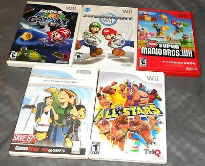 5 Nintendo Wii Game Lot. Mario Strikers, MarioKart, Super MarioBros,WW All Stars