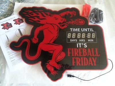 FIREBALL WHISKEY LED SIGN COUNTDOWN TO FRIDAY CLOCK! 20X17 Brand New! COOL!