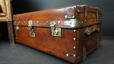 Antique Leather Wood Banded Steamer Trunk