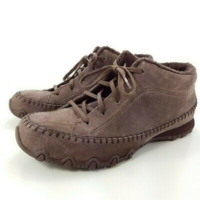 SKECHERS WOMENS RELAXED Fit Bikers Totem Pole Shoe Sued Leather Oxford Brown 9.5