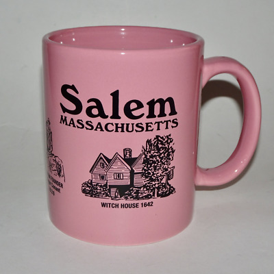 Salem Massachusetts Coffee Mug, Happy Rose Pink w/Witch Dungeon & Witch House