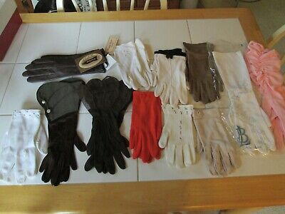 Vtg Lot Of 12 Pairs Ladies Gloves Various Sizes And Brands