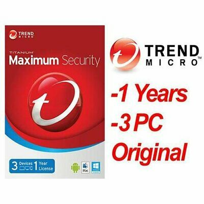 Trend Micro Maximum Security (1 Year / 3 Devices)electronic license activation