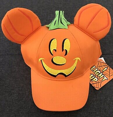 Disney Parks 2019 Halloween Pumpkin Mickey Mouse Light Up Cap New With Tags