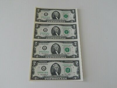 Uncut Sheet Of (4) $2 Two U.s. Dollar Bills, Notes, Money, & Currency -New-