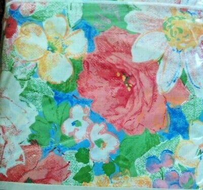 """Kensington Tablecloth Floral Flowers Pink White Blue Green 108"""" Round Cotton NWT"""