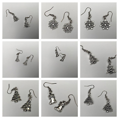 Ladies Silver Xmas Drop Dangle Dangly Hook Earrings Snowflake Tree