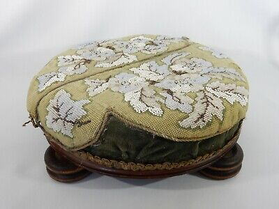 Antique Victorian Beaded Upholstered Footstool Foot Stool Rest Original Tapestry