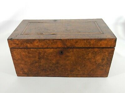 Antique Victorian Burr Walnut Veneer Timber Lidded Stationary Box Sewing Burl